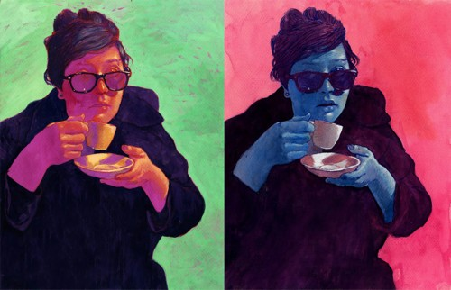 diptych illustration of woman drinking from a teacup