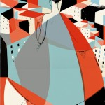 stylised illustration of a woman from the back and a cityscape