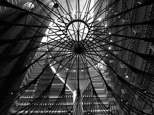 black & white photo of spiral feature in lobby