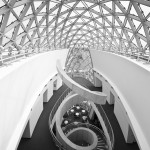 black & white picture of staircase from Dali museum