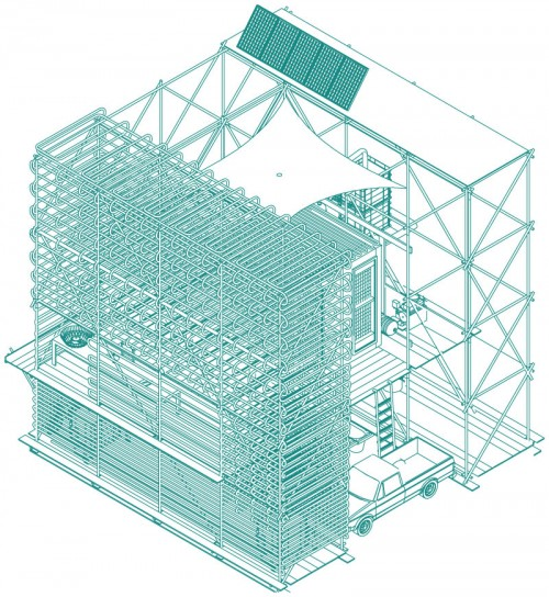 isometric graphic illustration of pipework building