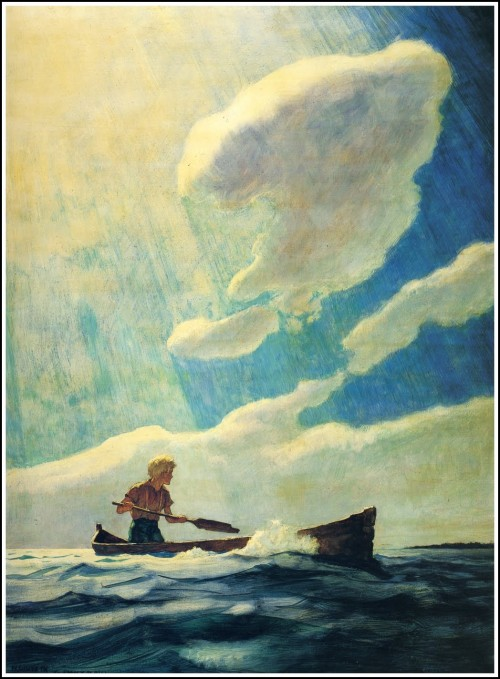 illustration of a boy in a boat on a calm sea with a cloudy sunny sky