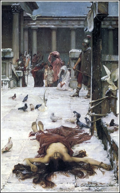 painting by waterhouse of a roman woman's body lying in a treet surrounded by pigeons