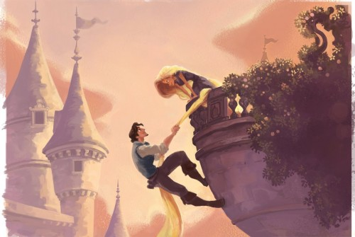 Rapunzel's hair hangs from a balcony, climbed by her admirer, with turrets in the background in Tangled concept art