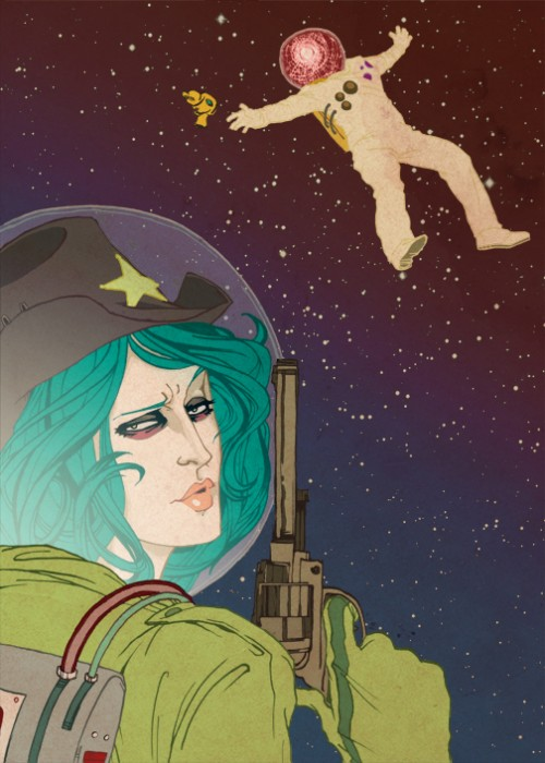 space cowgirl disapproves of cosmonaut boyfriend. space iron curtain still stands