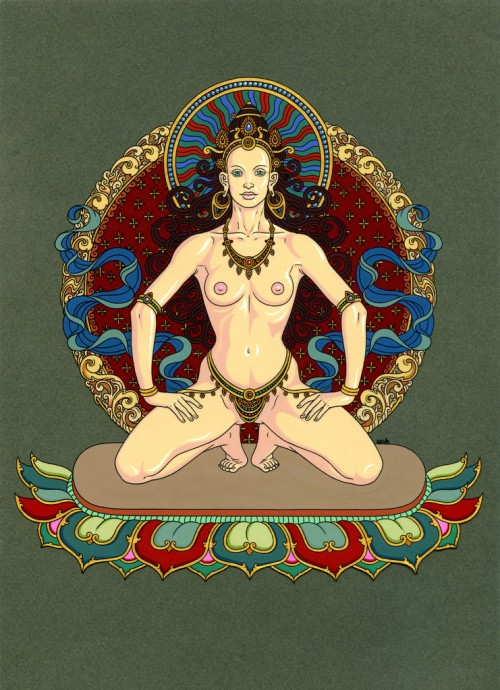 illustration of a nude woman with jewelery kneeling