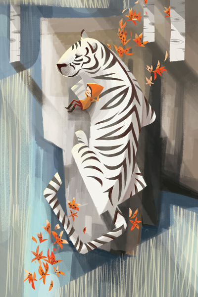 illustration of a child sleeping on a white tiger