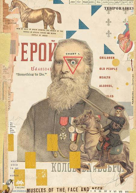 collage poster featuring vintage soldiers and russian text