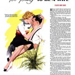 editorial magazine illustration of a woman in a man&#039;s lap