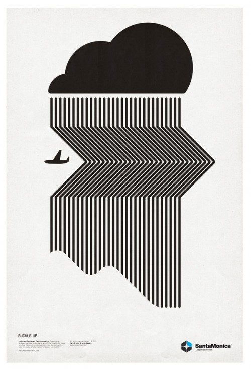 black & white graphic poster of a plane and a rain cloud