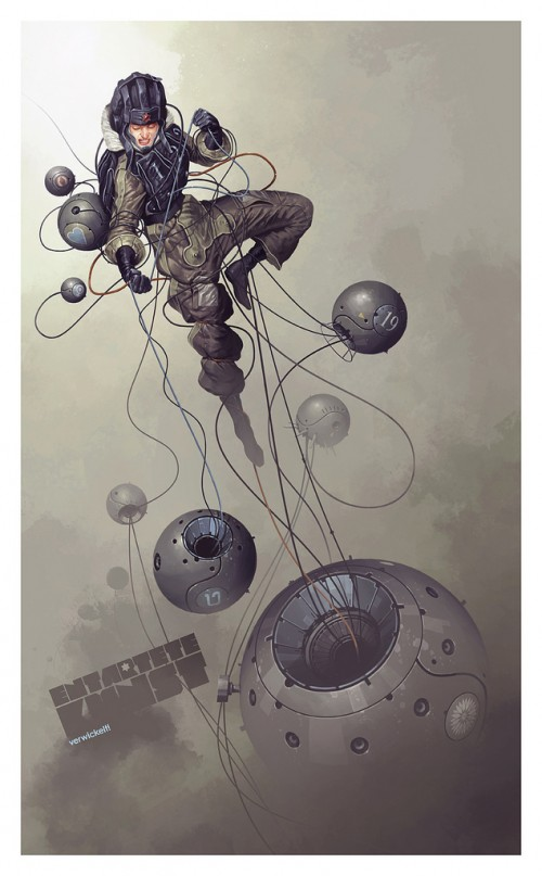 illustration of a spacewoman tangled in wires