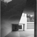 black & white architecture photo of a courtyard