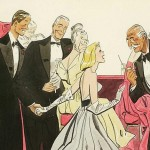illustration of three men in tuxedos and women in evening gowns