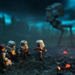 photograph of lego stormtroopers &amp; at-st attending a funeral for a comrade