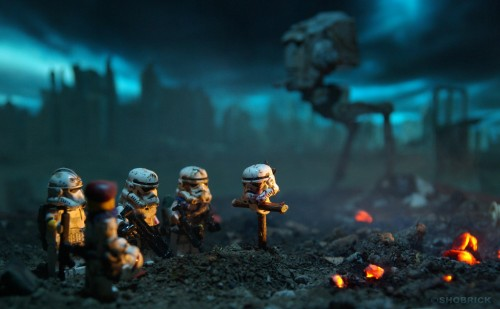 photograph of lego stormtroopers & at-st attending a funeral for a comrade
