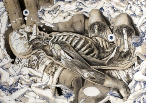 mixed media illustration of nude figures and skeletons