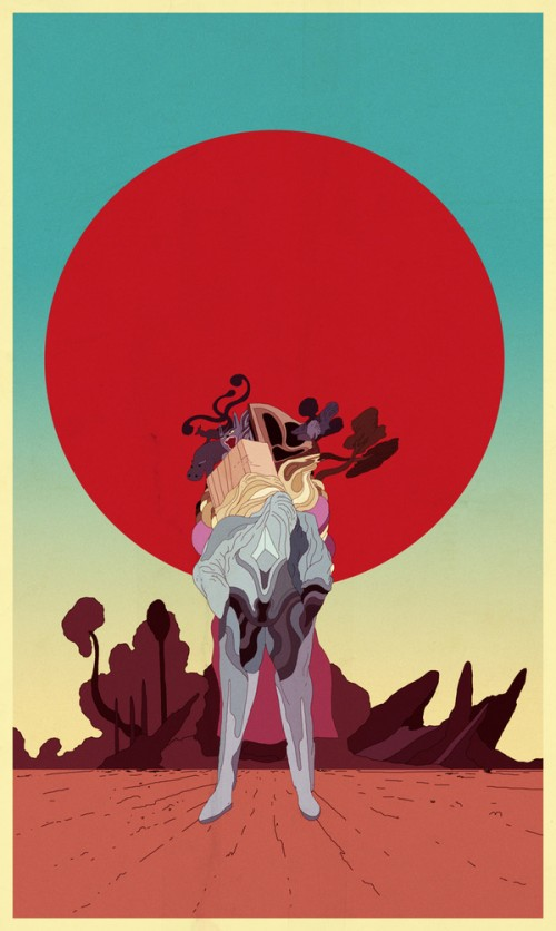 surreal illustration with a figure in front of a red sun