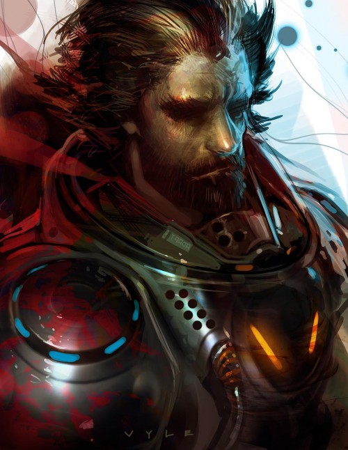 digital painting of a bearded man in a spacesuit