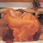 painting of sleeping woman in a flame red-orange dress
