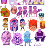 collage of many superheroes and film characters drawn in a cartoon style 1