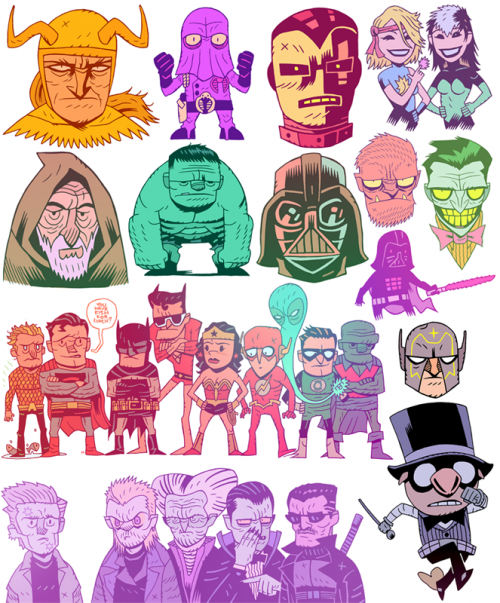 collage of many superheroes and film characters drawn in a cartoon style 2