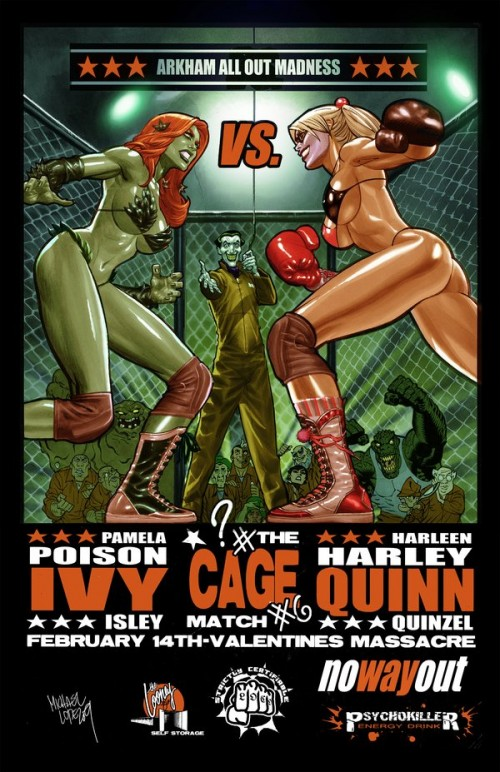 fan art poster promoting boxing match with harley quinn, poisin ivy and joker