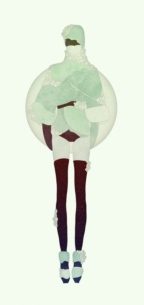 surreal illustration of a woman with leggings