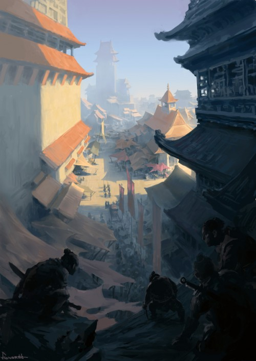 digital painting of assassins stalking a Japanese fantasy town