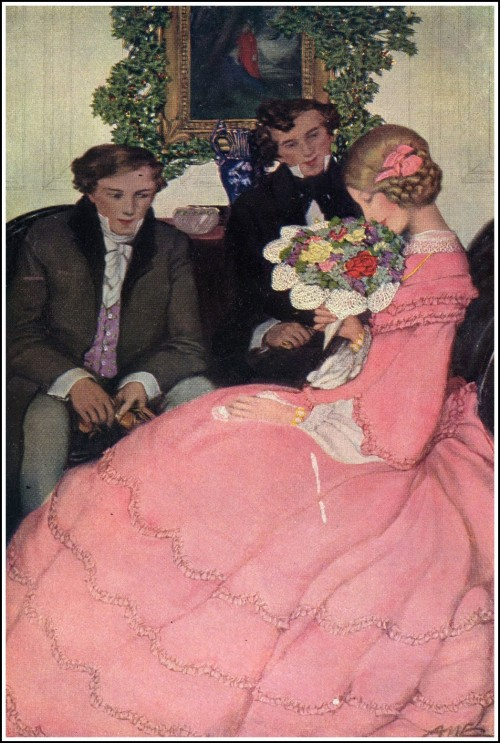 painting of two suitors and a woman in a pink dress with a bouquet