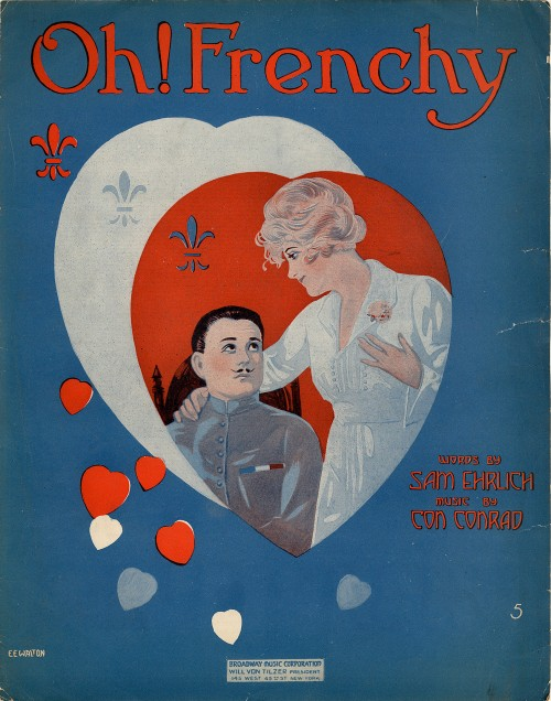 Oh! Frenchy. 1918 sheet music cover art featuring a nurse in white and a man with a pencil moustache.