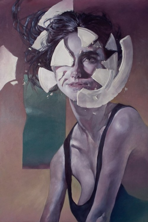 surreal painting of a woman with a china plate shattering against her face