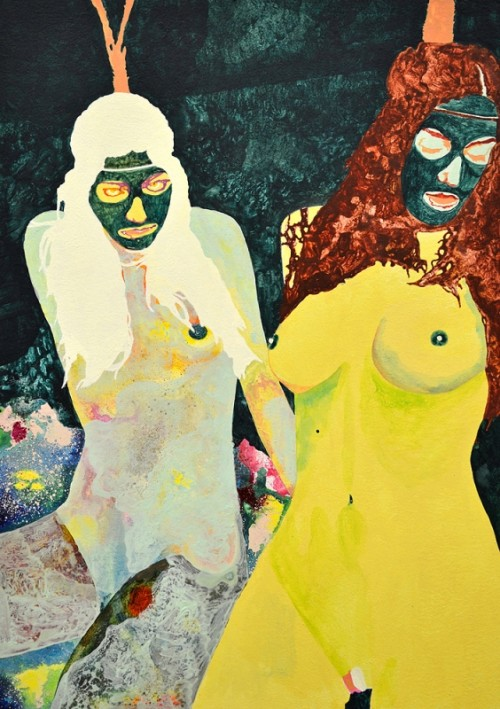 psychedelic painting of two nude women