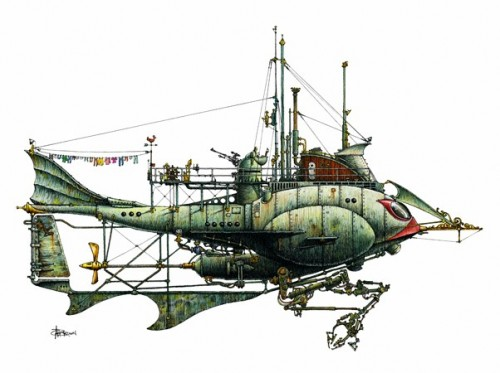 illustration of a fanciful fish-like submarine craft