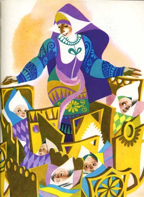 story book illustration of a woman with several babies in cribs