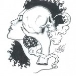black & white illustration of a woman and a skull