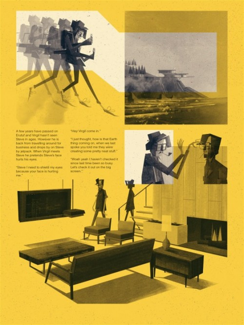 yellow page featuring illustration and story text