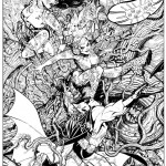 black &amp; white inked drawing of poison ivy and batman heroes
