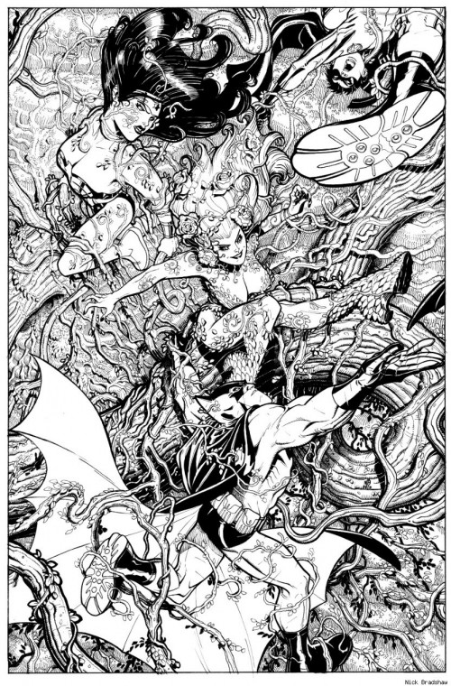 black & white inked drawing of poison ivy and batman heroes