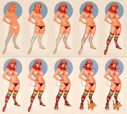 step by step process of a digital painting of a topless woman