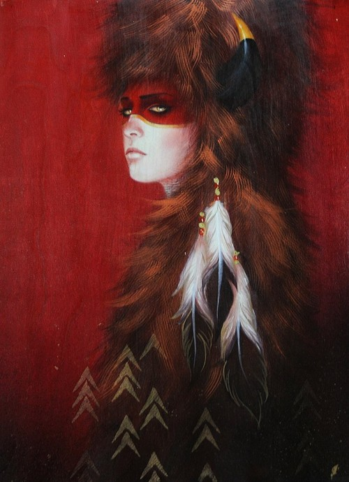 painting of a woman dressed in furs and feathers