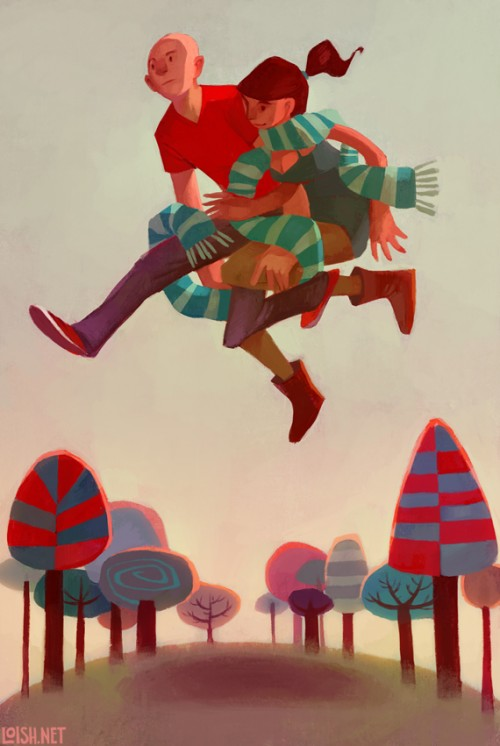 digital painting of two people leaping over a woodland