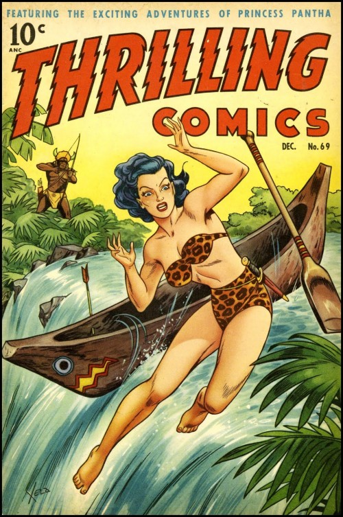Illustration of a Jungle Heroine wearing leopard bikini falling from a canoe going over a waterfall