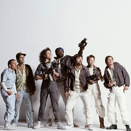 publicity shot of the cast of Ridley Scott's Alien