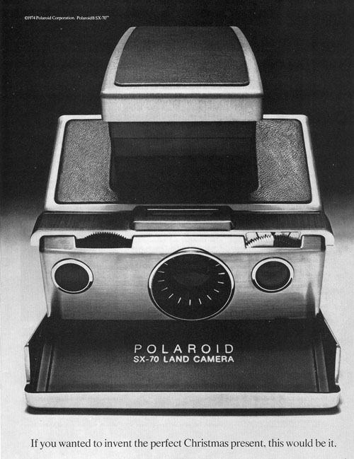 black & white photo of the polaroid sx-70 camera