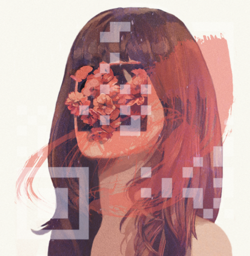 portrait painting of a woman with flowers and pixel graphics obscuring the face