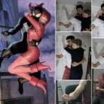 illustration of spider man and mary jane with reference photos