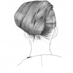 pen &amp; ink illustration of a woman&#039;s hair from the back