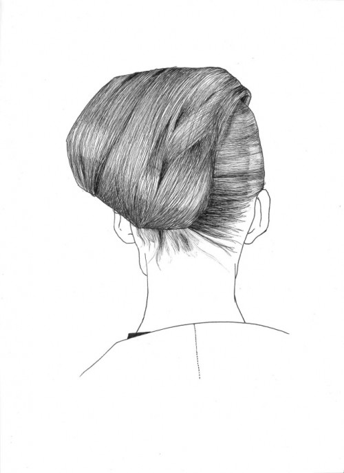 pen & ink illustration of a woman's hair from the back