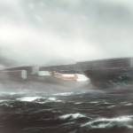 architectural rendering of greenland national gallery near rough seas