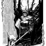 black &amp; white pen drawing of a knight and a dog